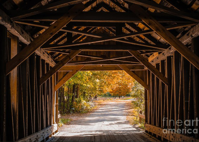 Fall Greeting Card featuring the photograph Blow-me-down Covered Bridge Cornish New Hampshire by Edward Fielding