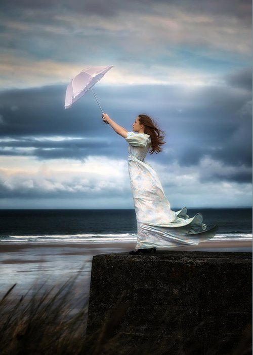 Woman Greeting Card featuring the photograph Blowing In The Wind by Joana Kruse