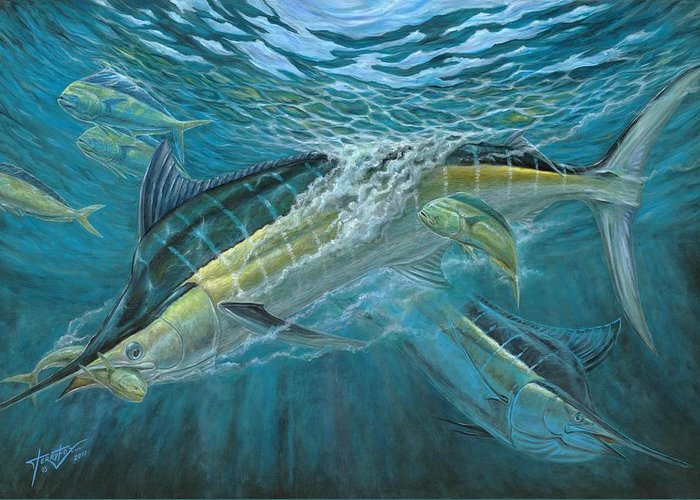 Blue Marlin Greeting Card featuring the painting Blue And Mahi Mahi Underwater by Terry Fox