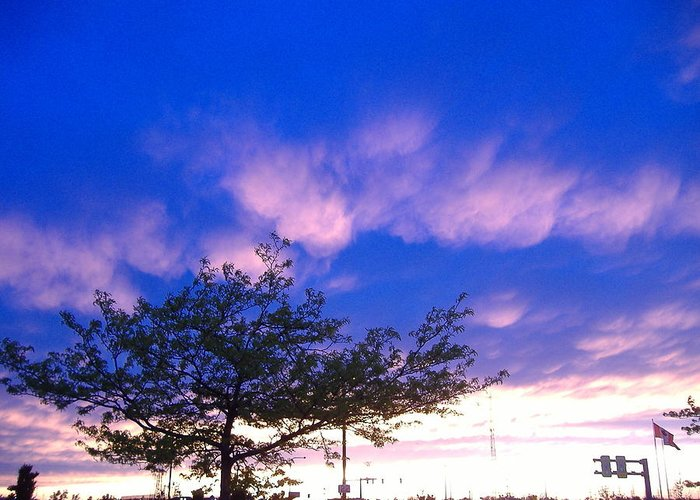 Blue Greeting Card featuring the photograph Blue And Purple Skies At Sunset by Elisabeth Ann