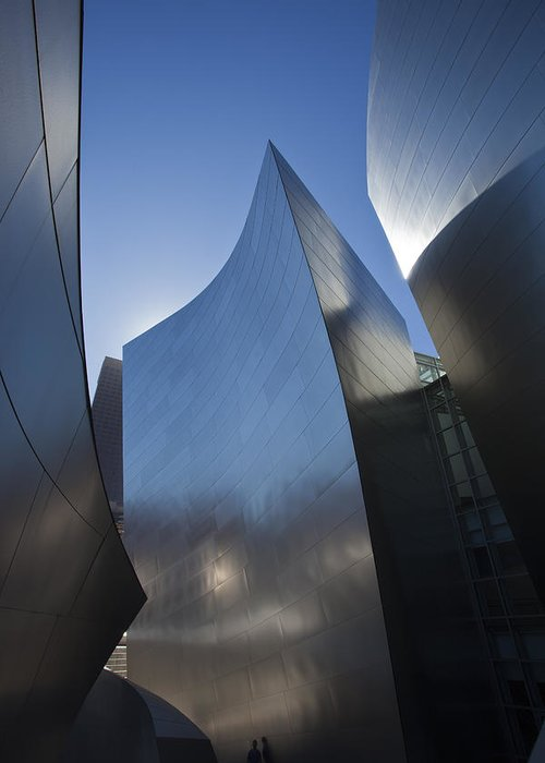 Architecture Greeting Card featuring the photograph Blue and Silver Curves 1 by Geoff Scott