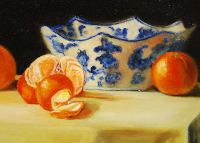 Tangerines Greeting Card featuring the painting Blue And White Bowl And Tangerines by Ann Simons