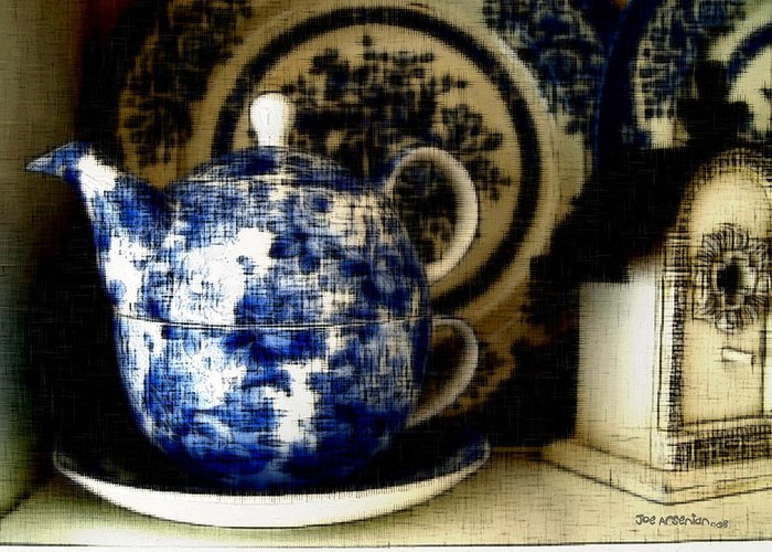 Greeting Card featuring the photograph Blue And White by Joe Arsenian