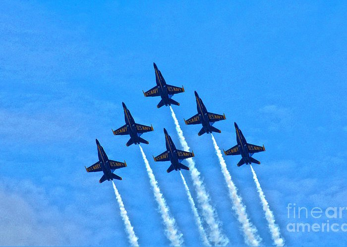 Blue Angels Greeting Card featuring the photograph Blue Angel Team by John Devlin