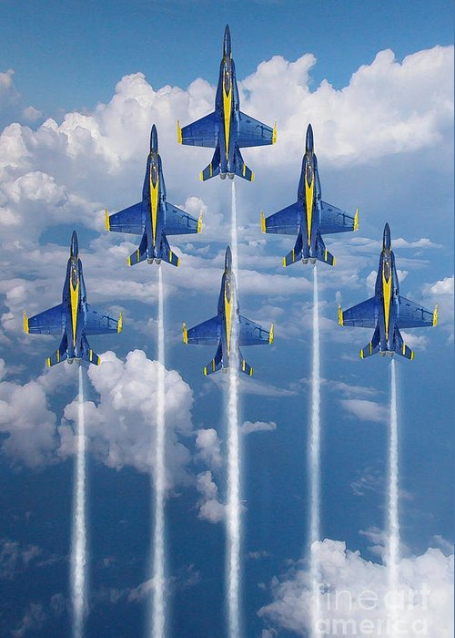 Blue Angels Greeting Card featuring the digital art Blue Angels by J Biggadike