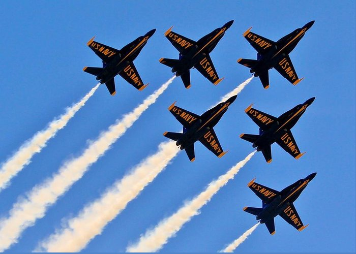 Blue Angels Greeting Card featuring the photograph Blue Angels Overhead by Benjamin Yeager