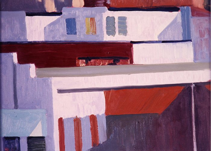 Cityscape Greeting Card featuring the painting Blue Awning by Richard Marshall