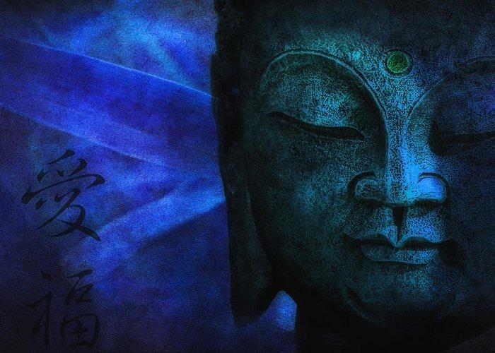 Buddha Greeting Card featuring the photograph Blue Balance by Joachim G Pinkawa
