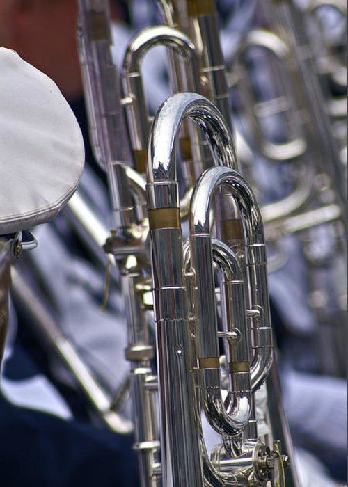 Penn State University Blueband Greeting Card featuring the photograph Blue Band Brass by Tom Gari Gallery-Three-Photography