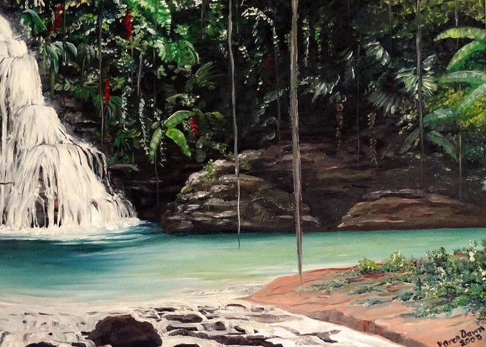 Tropical Waterfall Greeting Card featuring the painting Blue Basin by Karin Dawn Kelshall- Best