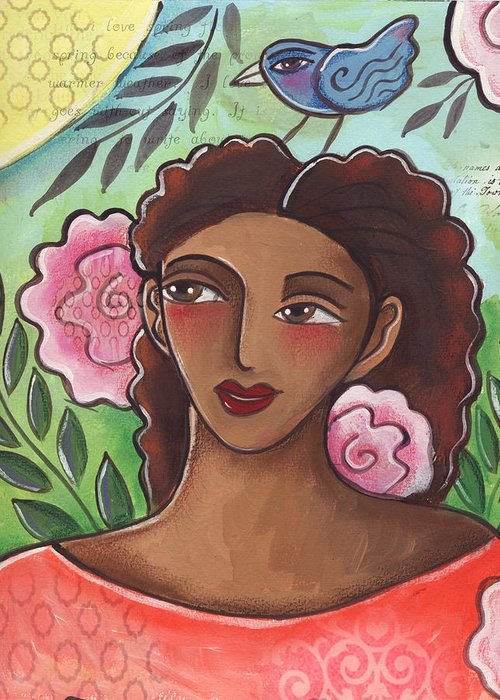Woman Greeting Card featuring the painting Blue Bird Of Happiness On My Head by Elaine Jackson