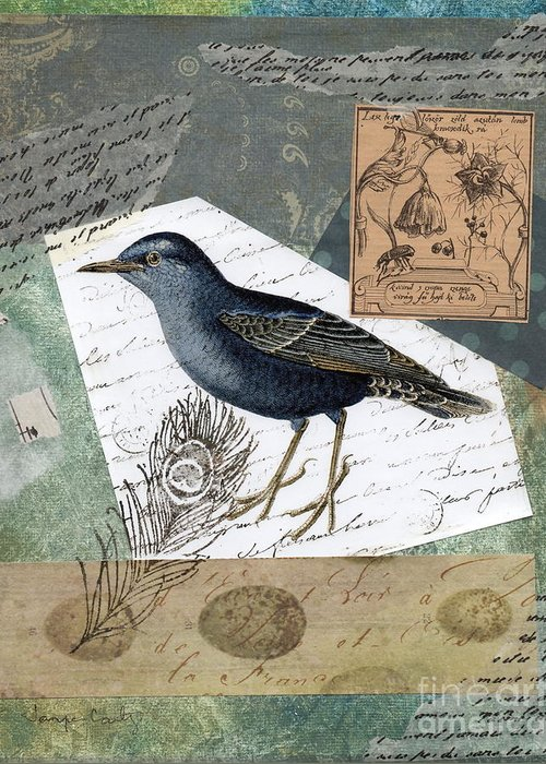 Bird Greeting Card featuring the painting Blue Bird Study by Tamyra Crossley