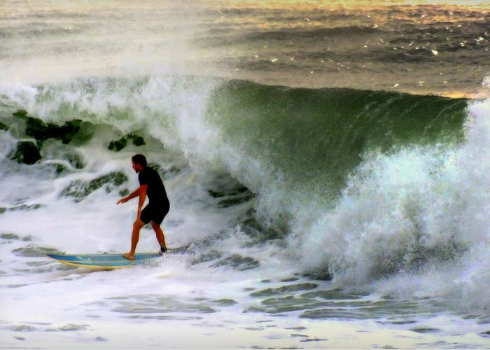 Surfers Greeting Card featuring the photograph Blue Board by Karen Wiles