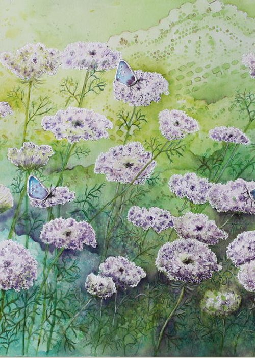 Butterflies Greeting Card featuring the painting Blue Butterflies by Patsy Sharpe