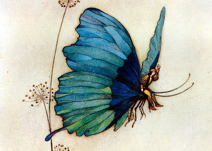 Warwick Goble Greeting Card featuring the digital art Blue Butterfly II by Warwick Goble