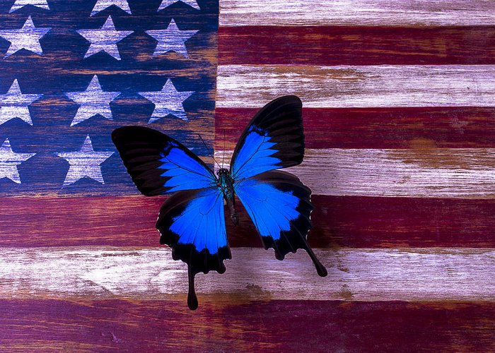 American Greeting Card featuring the photograph Blue Butterfly On American Flag by Garry Gay