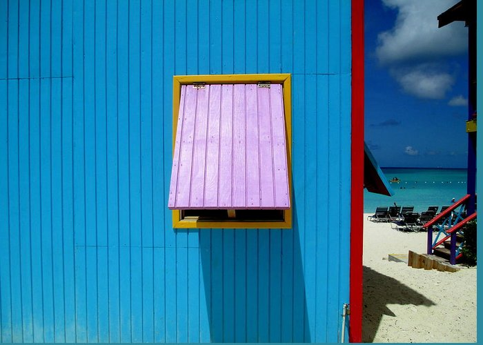 Caribbean Corner Greeting Card featuring the photograph Blue Cabin by Randall Weidner