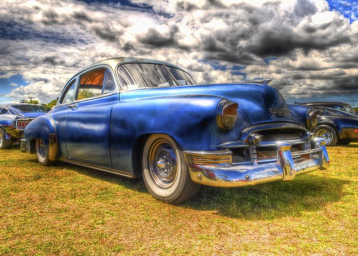 Fifties Automobile Greeting Card featuring the photograph Blue Chevy Deluxe - Hdr by Phil 'motography' Clark