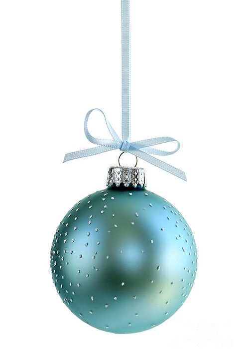 Christmas Greeting Card featuring the photograph Blue Christmas Ornament by Elena Elisseeva