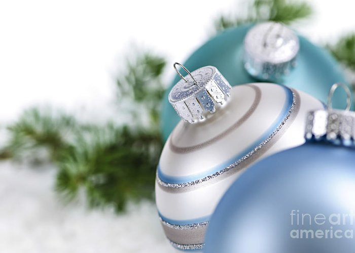 Christmas Greeting Card featuring the photograph Blue Christmas Ornaments by Elena Elisseeva