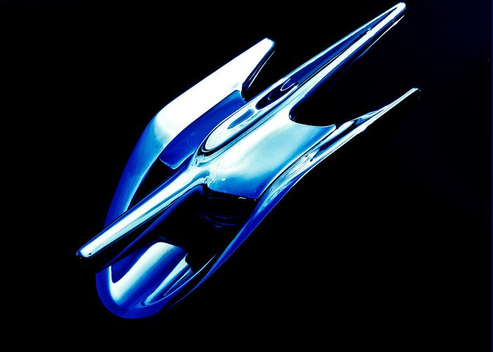 Chrome Emblem Greeting Card featuring the photograph Blue Chrome Jet by Phil 'motography' Clark