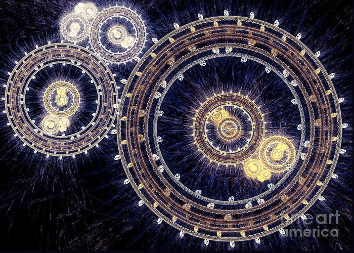 Abstract Greeting Card featuring the digital art Blue Clockwork by Martin Capek