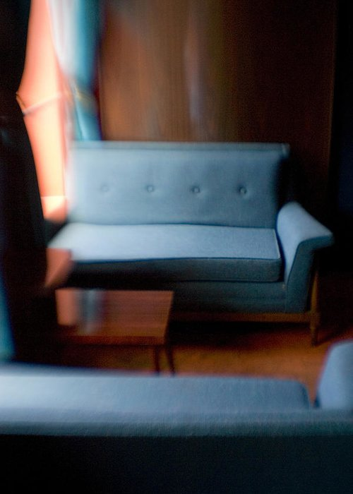 Mid-century Greeting Card featuring the photograph Blue Couch Starlite Lounge by Lisa Cowley