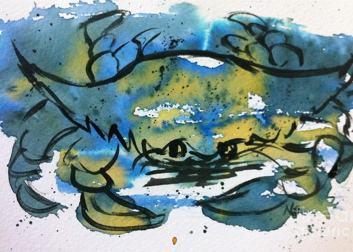 Sea Life Greeting Card featuring the painting Blue Crab by Norma Gafford