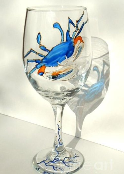 Blue Crab Greeting Card featuring the glass art Blue Crab On Glass by Pauline Ross