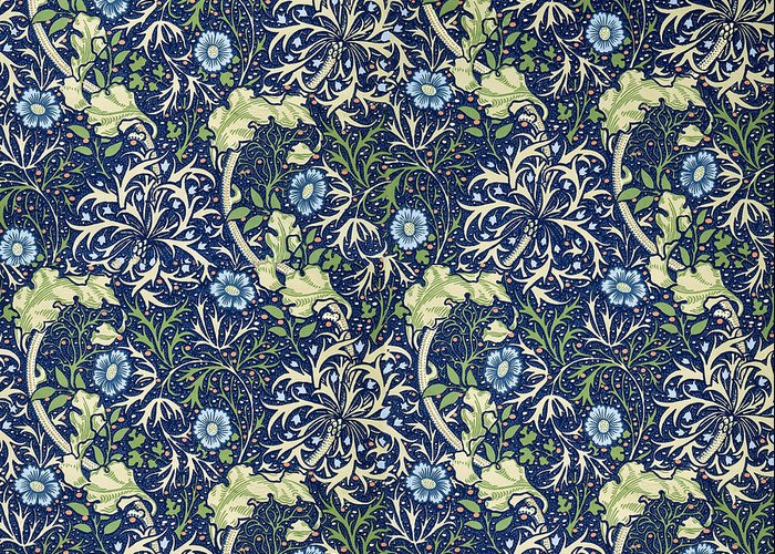 William Greeting Card featuring the tapestry - textile Blue Daisies Design by William Morris