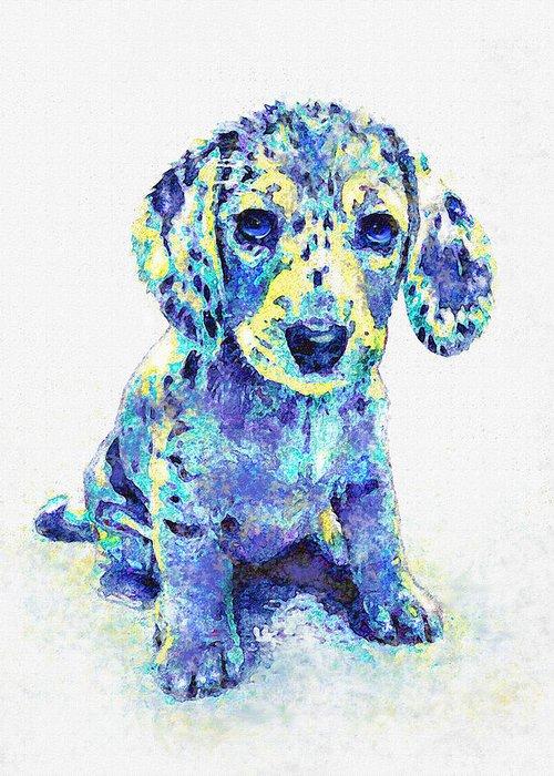 Jane Schnetlage Greeting Card featuring the digital art Blue Dapple Dachshund Puppy by Jane Schnetlage