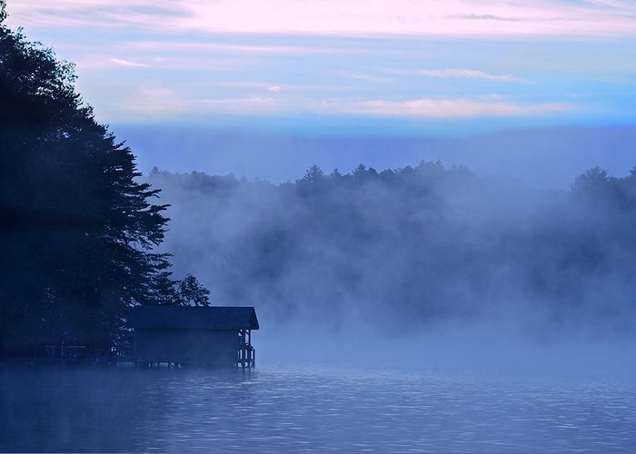 Blue Greeting Card featuring the photograph Blue Dawn Mist by Susan Leggett