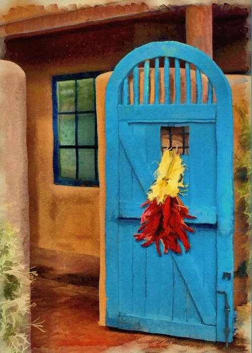 Adobe Greeting Card featuring the painting Blue Door And Peppers by Jeffrey Kolker