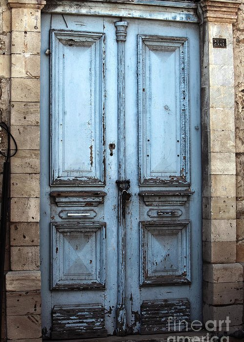 Blue Door In Limassol Greeting Card featuring the photograph Blue Door In Limassol by John Rizzuto