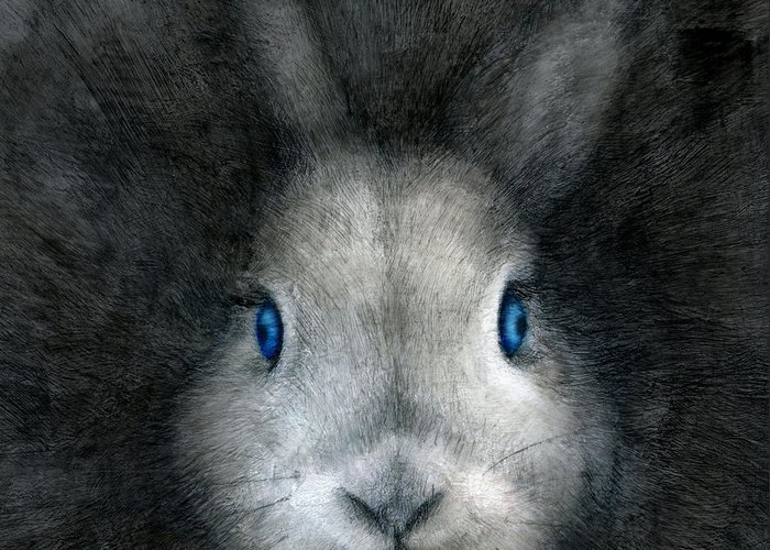 Rabbit Greeting Card featuring the drawing Blue Eyes by Penny Collins