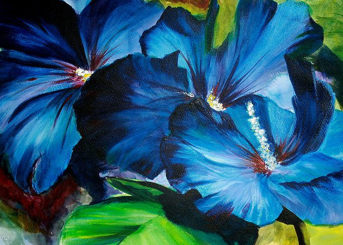 Painting Greeting Card featuring the painting Blue Fairies by Laura Byler