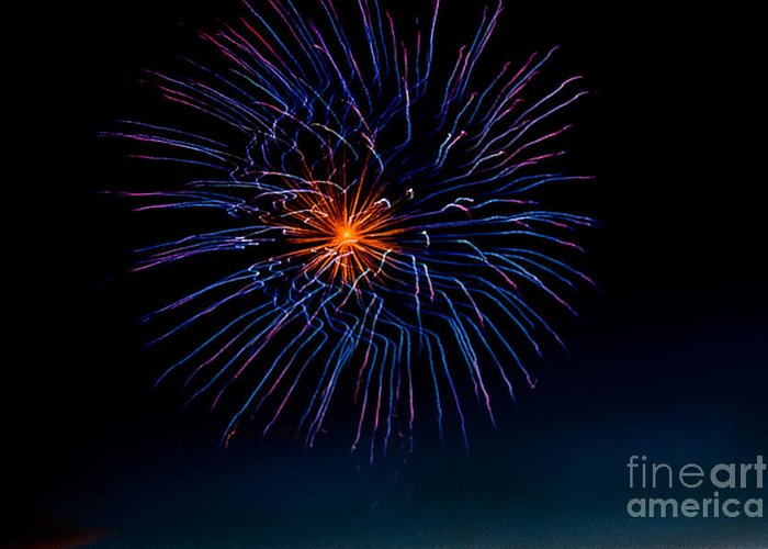 Fireworks Greeting Card featuring the photograph Blue Firework Flower by Robert Bales