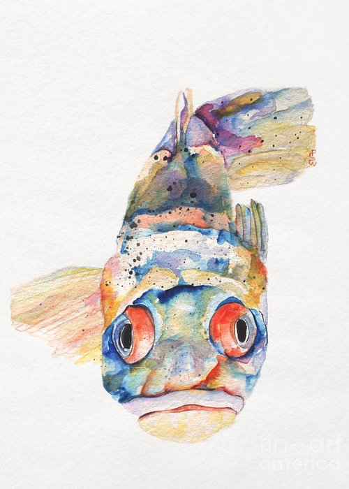 Pat Saunders-white Greeting Card featuring the painting Blue Fish  by Pat Saunders-White