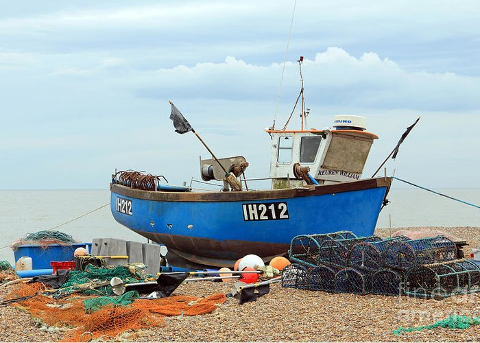 Blue Fishing Boat Greeting Card featuring the photograph Blue Fishing Boat by Julia Gavin