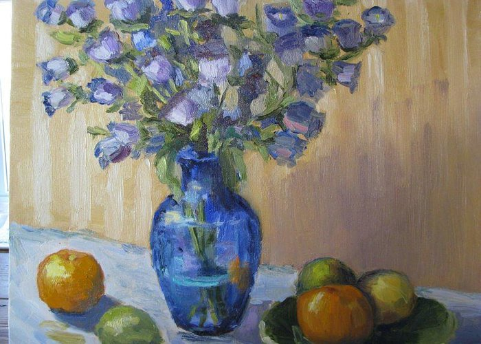 Still Life Greeting Card featuring the painting Blue Flowers And Fruit by Sharon Franke