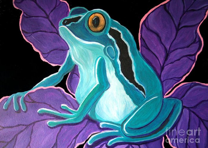 Frog Art Greeting Card featuring the painting Blue Frog Purple Flower by Nick Gustafson