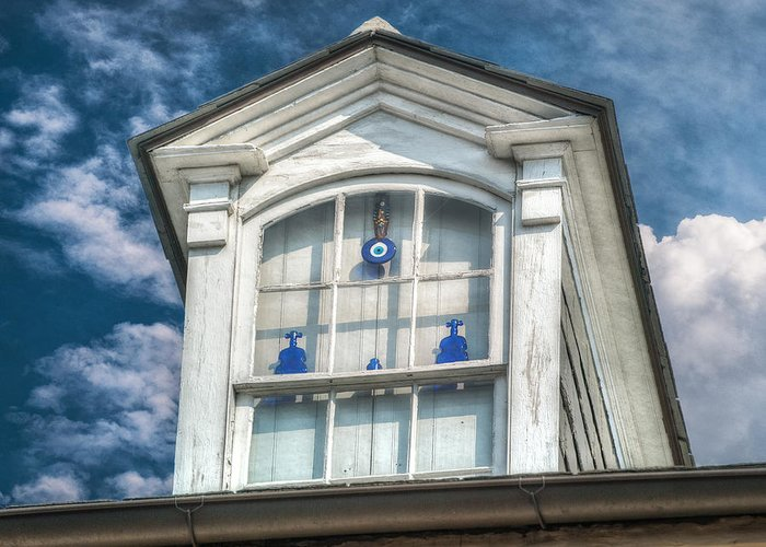 French Quarter Greeting Card featuring the photograph Blue Glass In Window by Brenda Bryant