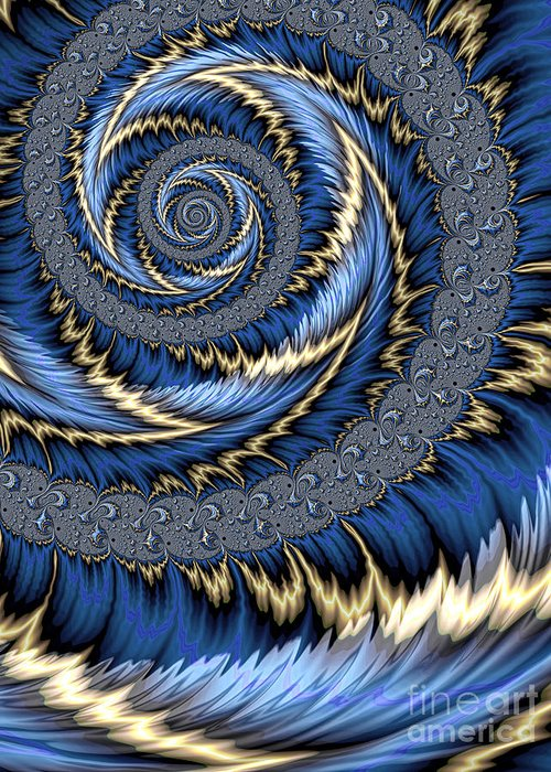 Blue Gold Leaves Abstract Greeting Card featuring the digital art Blue Gold Spiral Abstract by John Edwards