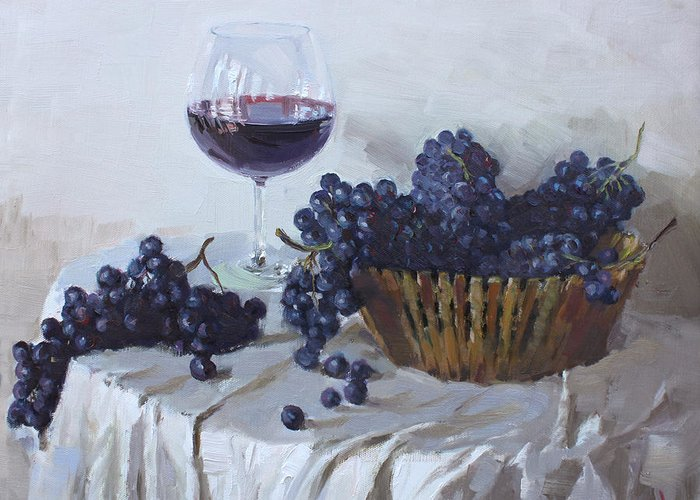 Blue Grapes Greeting Card featuring the painting Blue Grapes And Wine by Ylli Haruni