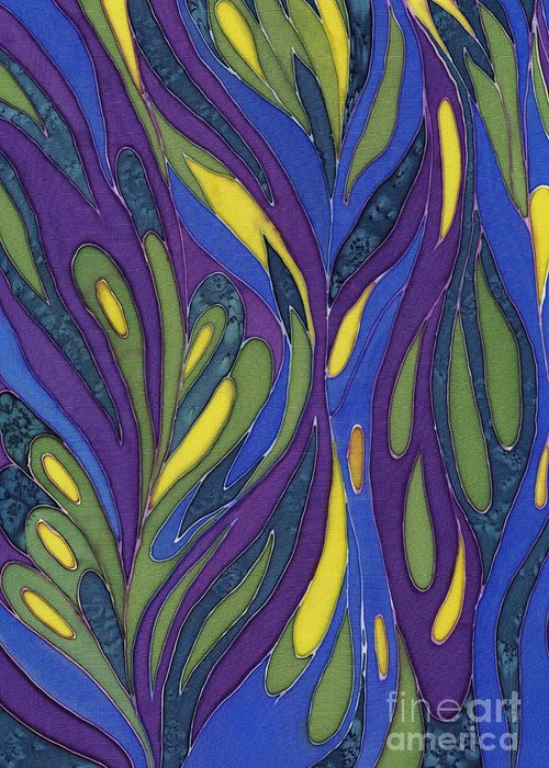 Abstract Greeting Card featuring the painting Blue Green Purple Abstract Silk Design by Sharon Freeman