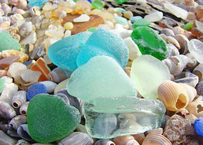 Seaglass Greeting Card featuring the photograph Blue Green Sea Glass Beach Coastal Seaglass by Baslee Troutman
