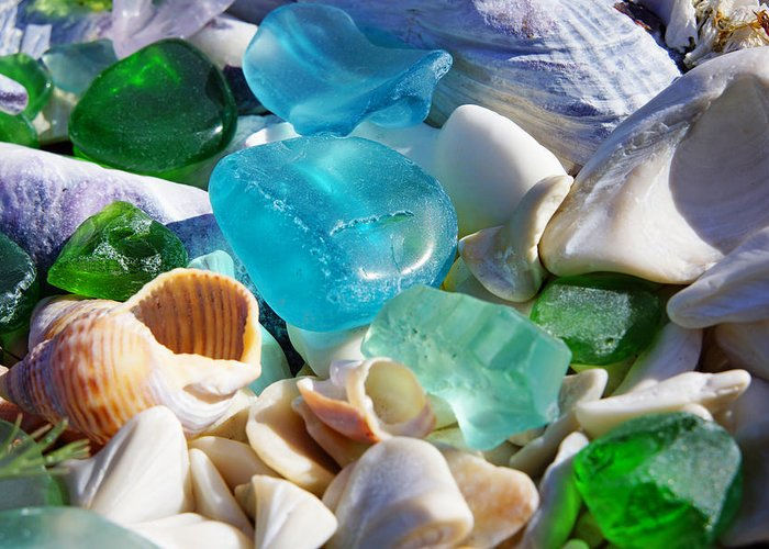 Decorative Greeting Card featuring the photograph Blue Green Seaglass Shells Coastal Beach by Baslee Troutman
