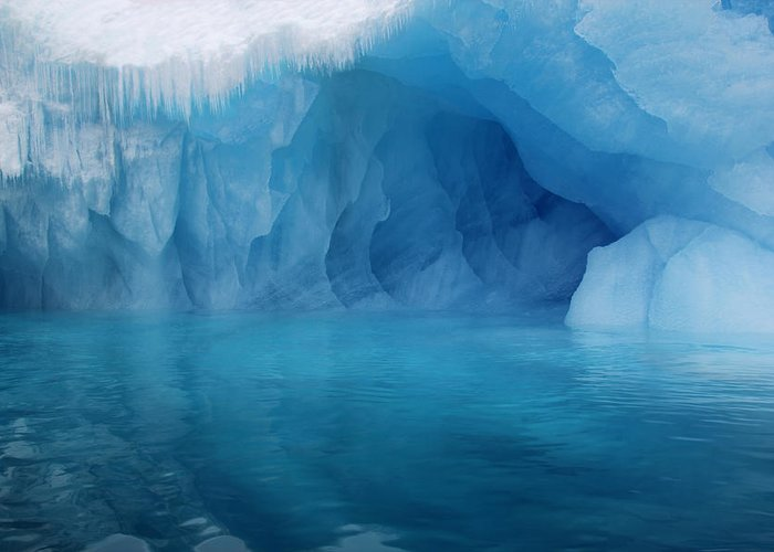 Ice Greeting Card featuring the photograph Blue Grotto by Ginny Barklow