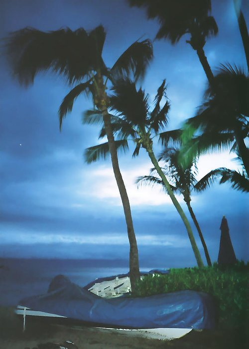 Dreamy Greeting Card featuring the photograph Blue Hawaii With Planets At Night by Connie Fox