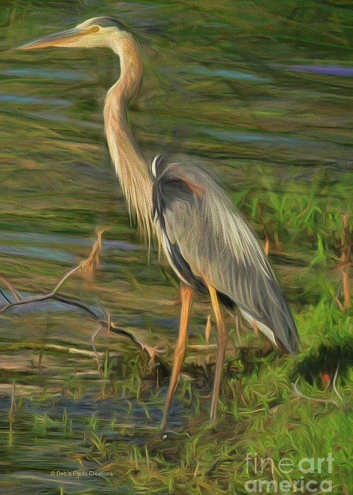 Heron Greeting Card featuring the painting Blue Heron On The Bank by Deborah Benoit